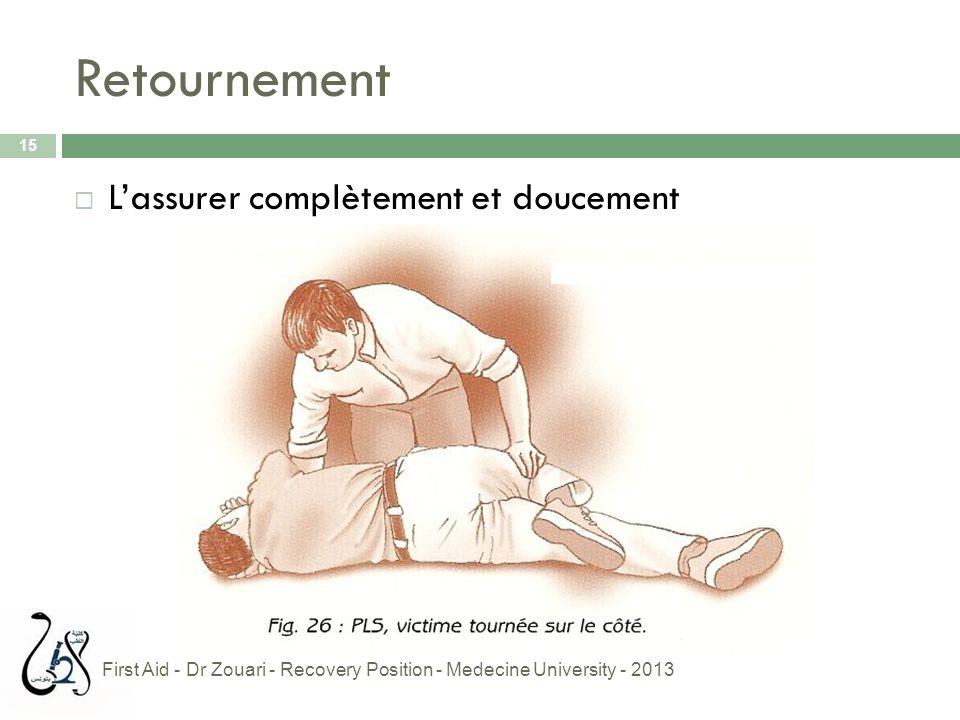 Retournement 15  L'assurer complètement et doucement First Aid - Dr Zouari - Recovery Position - Medecine University - 2013