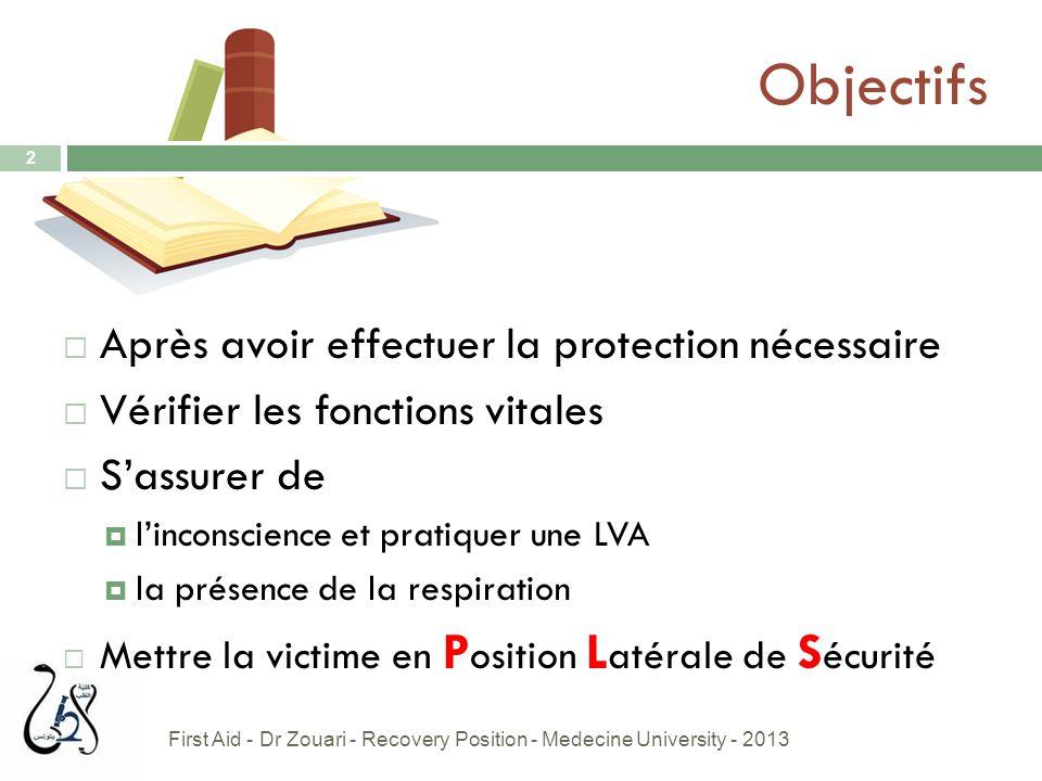 Objectifs 2  Après avoir effectuer la protection nécessaire  Vérifier les fonctions vitales  S'assurer de  l'inconscience et pratiquer une LVA  l