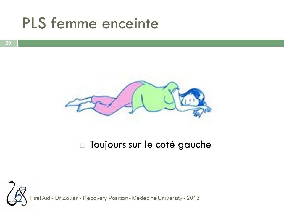 PLS femme enceinte  Toujours sur le coté gauche 20 First Aid - Dr Zouari - Recovery Position - Medecine University - 2013