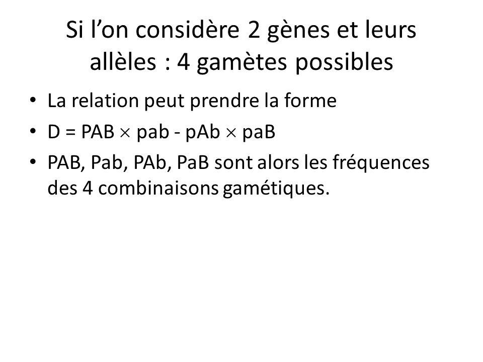 Si l'on considère 2 gènes et leurs allèles : 4 gamètes possibles La relation peut prendre la forme D = PAB  pab - pAb  paB PAB, Pab, PAb, PaB sont a