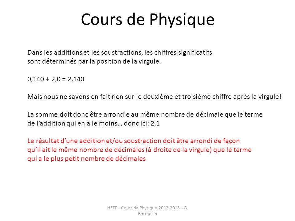 Cours de Physique HEFF - Cours de Physique 2012-2013 - G. Barmarin Dans les additions et les soustractions, les chiffres significatifs sont déterminés