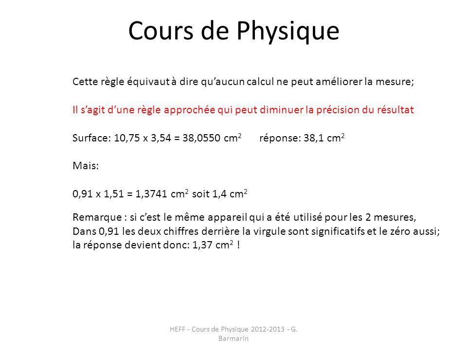 Cours de Physique HEFF - Cours de Physique 2012-2013 - G. Barmarin Cette règle équivaut à dire qu'aucun calcul ne peut améliorer la mesure; Il s'agit