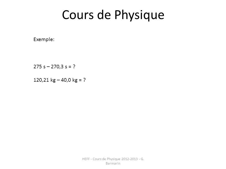 Cours de Physique HEFF - Cours de Physique 2012-2013 - G. Barmarin Exemple: 275 s – 270,3 s = ? 120,21 kg – 40,0 kg = ?