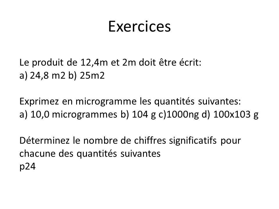 Exercices Le produit de 12,4m et 2m doit être écrit: a)24,8 m2 b) 25m2 Exprimez en microgramme les quantités suivantes: a) 10,0 microgrammes b) 104 g