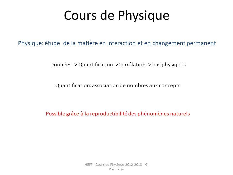 Cours de Physique HEFF - Cours de Physique 2012-2013 - G. Barmarin Physique: étude de la matière en interaction et en changement permanent Données ->