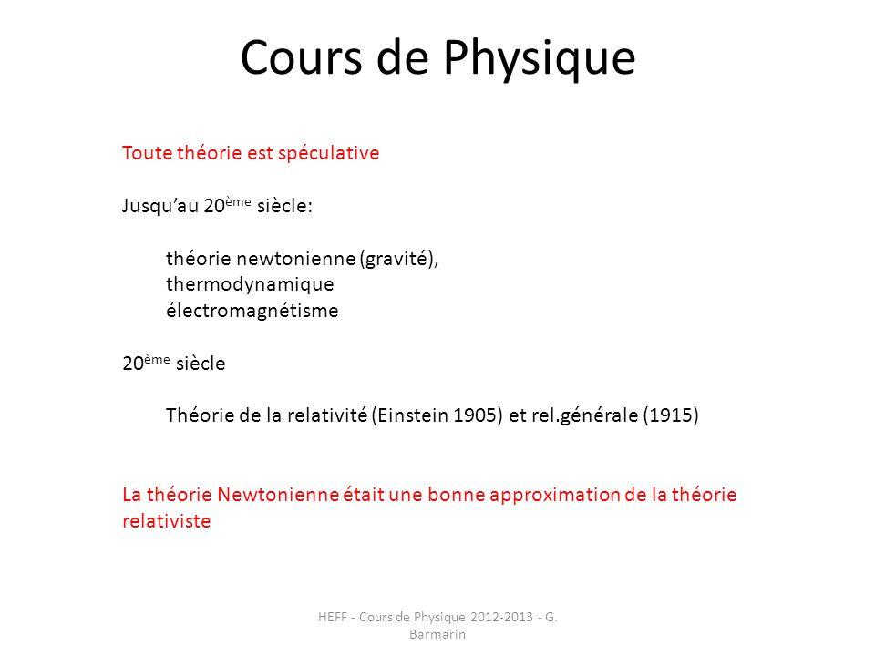 Cours de Physique HEFF - Cours de Physique 2012-2013 - G. Barmarin Toute théorie est spéculative Jusqu'au 20 ème siècle: théorie newtonienne (gravité)