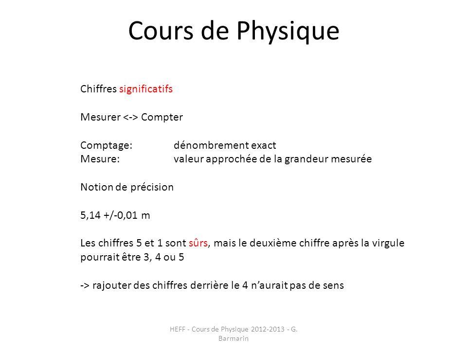 Cours de Physique HEFF - Cours de Physique 2012-2013 - G. Barmarin Chiffres significatifs Mesurer Compter Comptage: dénombrement exact Mesure: valeur