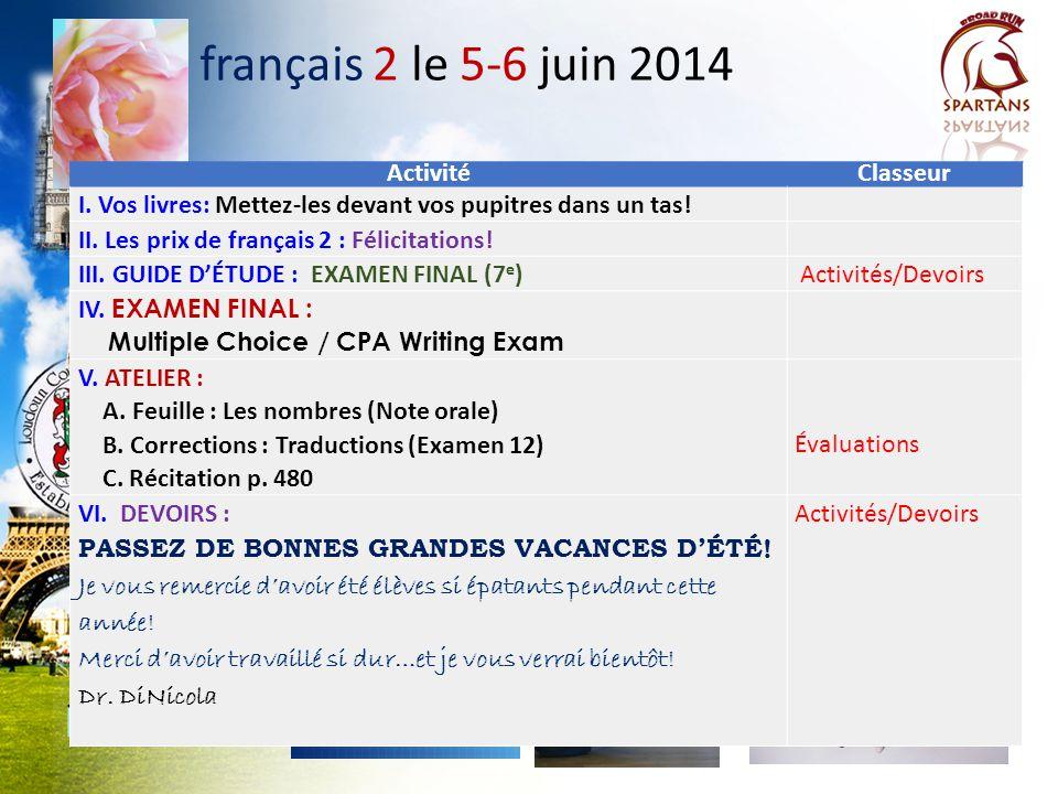 français 2 Les prix Félicitations! 7 e plage: Victoire Mai