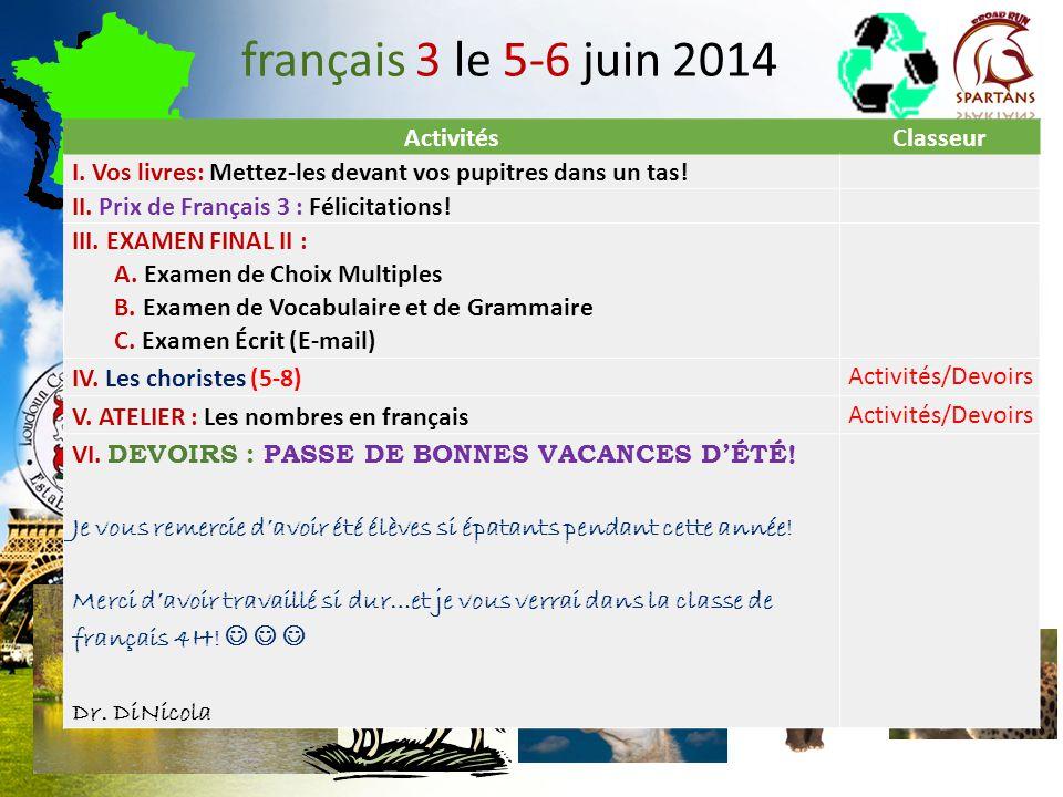 français 5H/AP ® le 6 juin 2014 ActivitésClasseur I.Examen Final: 5H Choix Multiples Presentational Speaking II.