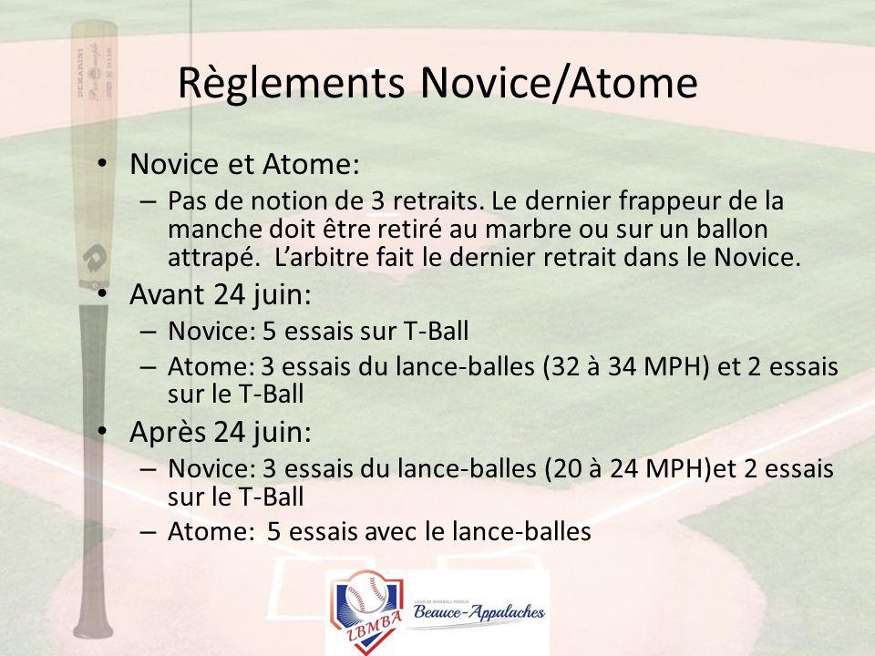 Règlements Novice/Atome Novice et Atome: – Pas de notion de 3 retraits.