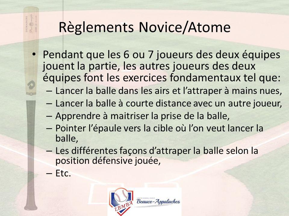 Règlements Novice/Atome Pendant que les 6 ou 7 joueurs des deux équipes jouent la partie, les autres joueurs des deux équipes font les exercices fondamentaux tel que: – Lancer la balle dans les airs et l'attraper à mains nues, – Lancer la balle à courte distance avec un autre joueur, – Apprendre à maitriser la prise de la balle, – Pointer l'épaule vers la cible où l'on veut lancer la balle, – Les différentes façons d'attraper la balle selon la position défensive jouée, – Etc.