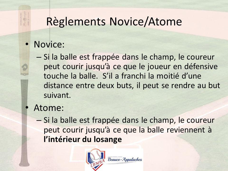 Règlements Novice/Atome Novice: – Si la balle est frappée dans le champ, le coureur peut courir jusqu'à ce que le joueur en défensive touche la balle.