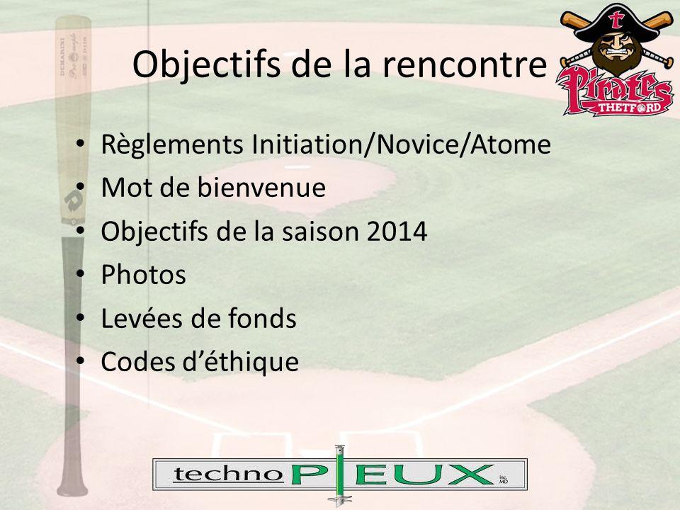 Objectifs de la rencontre Entente Baseball Québec – Hockey Québec En cas de pluie Règlements Moustique/Peewee/Bantam – Chocolat Initiation/Novice/Atome Chocolat Moustique/Peewee/Bantam – Arbitres, Marqueurs