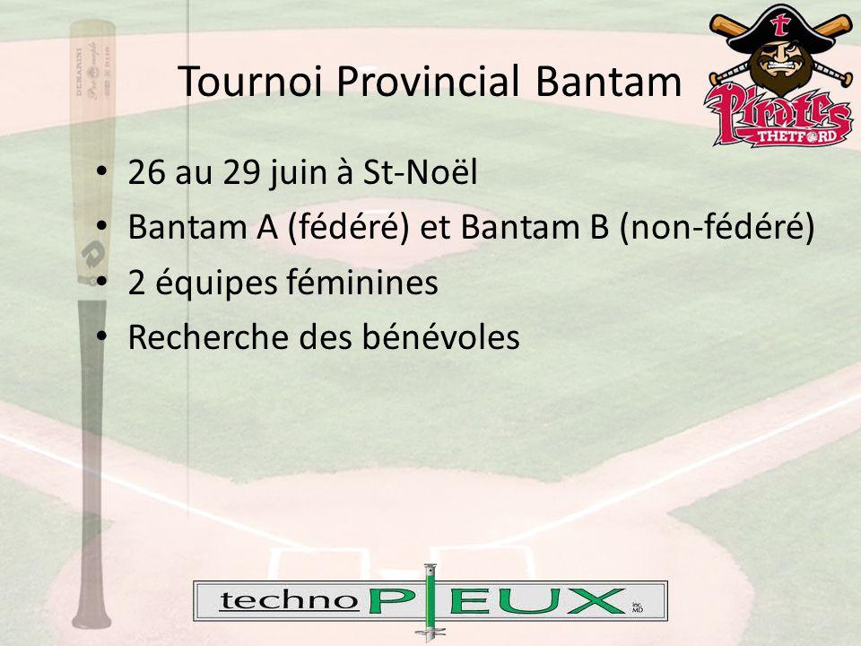 Tournoi Provincial Bantam 26 au 29 juin à St-Noël Bantam A (fédéré) et Bantam B (non-fédéré) 2 équipes féminines Recherche des bénévoles