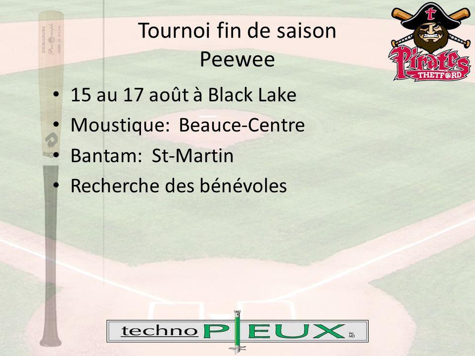 Tournoi fin de saison Peewee 15 au 17 août à Black Lake Moustique: Beauce-Centre Bantam: St-Martin Recherche des bénévoles