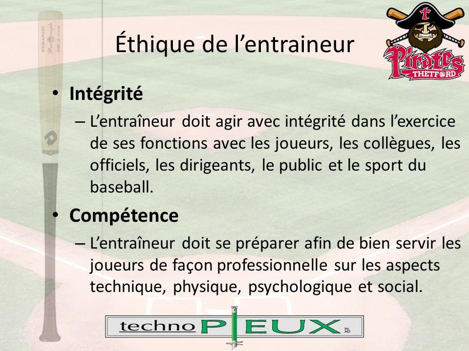 Éthique de l'entraineur Intégrité – L'entraîneur doit agir avec intégrité dans l'exercice de ses fonctions avec les joueurs, les collègues, les officiels, les dirigeants, le public et le sport du baseball.