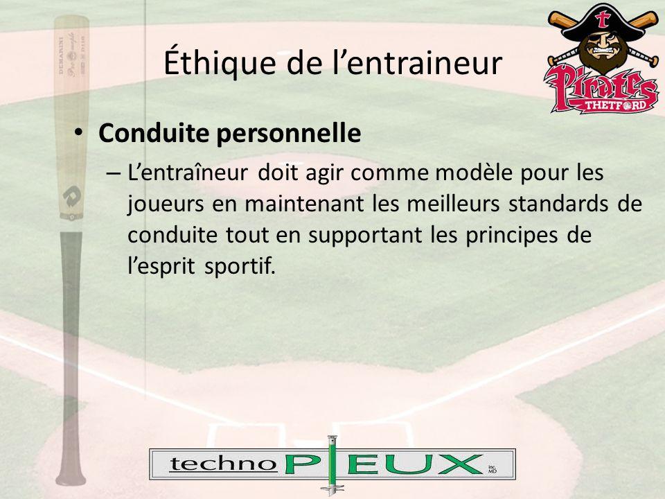 Éthique de l'entraineur Conduite personnelle – L'entraîneur doit agir comme modèle pour les joueurs en maintenant les meilleurs standards de conduite tout en supportant les principes de l'esprit sportif.