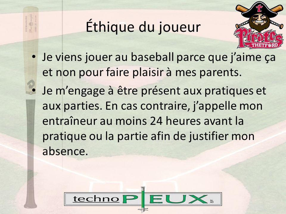 Éthique du joueur Je viens jouer au baseball parce que j'aime ça et non pour faire plaisir à mes parents.