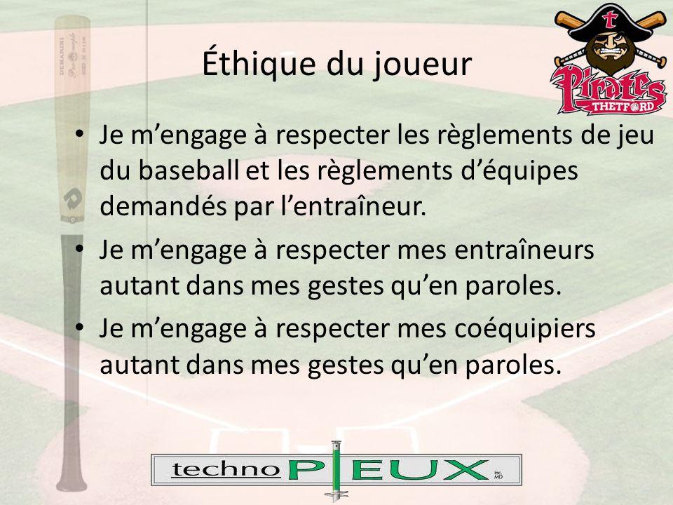 Éthique du joueur Je m'engage à respecter les règlements de jeu du baseball et les règlements d'équipes demandés par l'entraîneur.