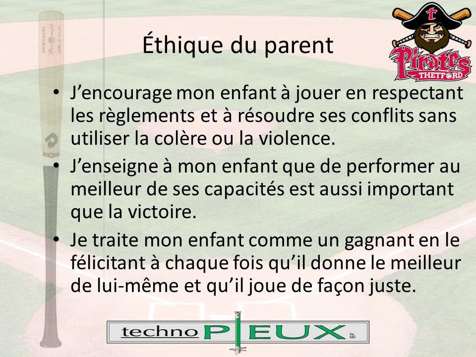 Éthique du parent J'encourage mon enfant à jouer en respectant les règlements et à résoudre ses conflits sans utiliser la colère ou la violence.