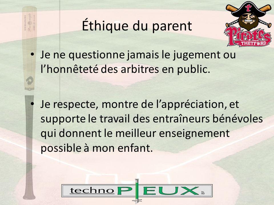 Éthique du parent Je ne questionne jamais le jugement ou l'honnêteté des arbitres en public.