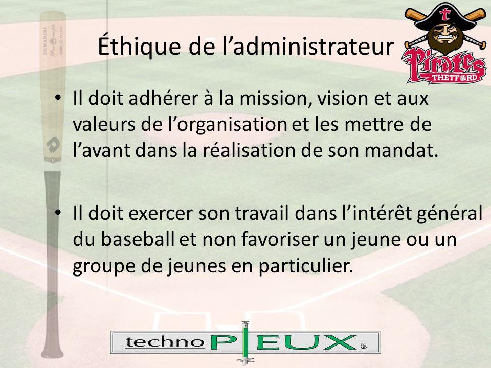Éthique de l'administrateur Il doit adhérer à la mission, vision et aux valeurs de l'organisation et les mettre de l'avant dans la réalisation de son mandat.