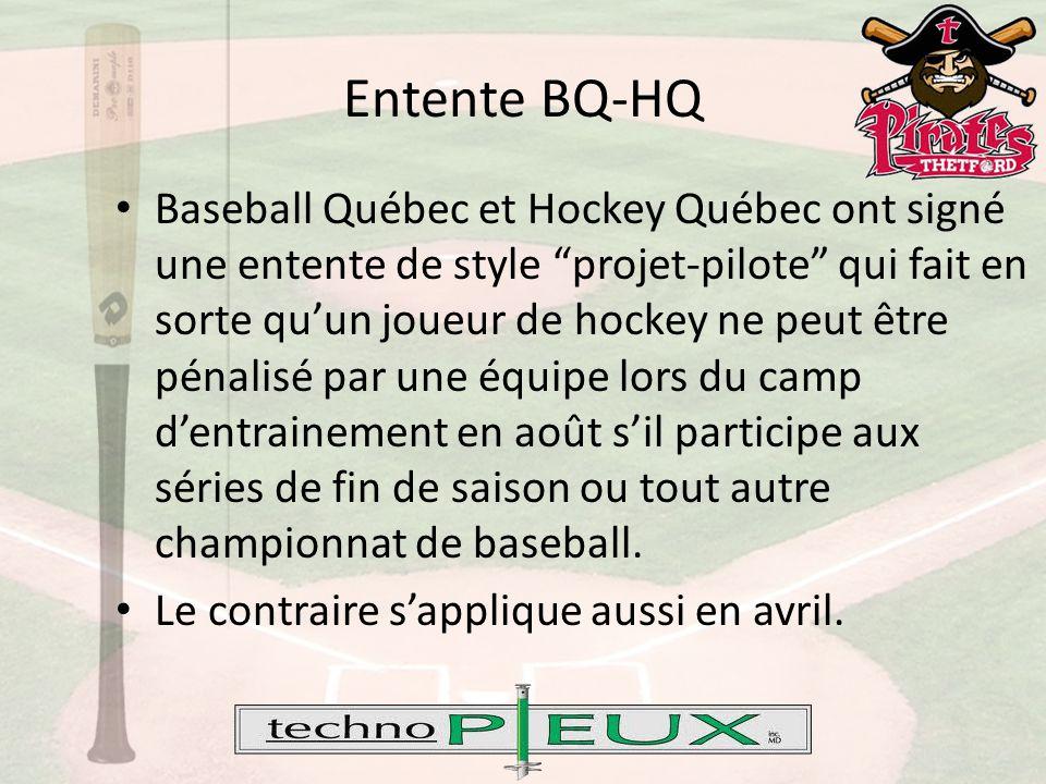 Baseball Québec et Hockey Québec ont signé une entente de style projet-pilote qui fait en sorte qu'un joueur de hockey ne peut être pénalisé par une équipe lors du camp d'entrainement en août s'il participe aux séries de fin de saison ou tout autre championnat de baseball.