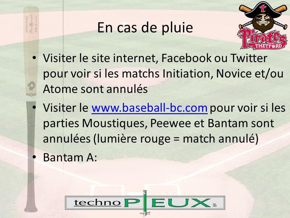 Visiter le site internet, Facebook ou Twitter pour voir si les matchs Initiation, Novice et/ou Atome sont annulés Visiter le www.baseball-bc.com pour voir si les parties Moustiques, Peewee et Bantam sont annulées (lumière rouge = match annulé)www.baseball-bc.com Bantam A: