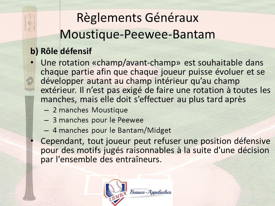 Règlements Généraux Moustique-Peewee-Bantam b) Rôle défensif Une rotation «champ/avant-champ» est souhaitable dans chaque partie afin que chaque joueur puisse évoluer et se développer autant au champ intérieur qu'au champ extérieur.