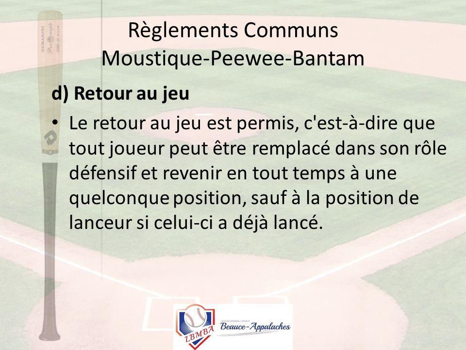 Règlements Communs Moustique-Peewee-Bantam d) Retour au jeu Le retour au jeu est permis, c est-à-dire que tout joueur peut être remplacé dans son rôle défensif et revenir en tout temps à une quelconque position, sauf à la position de lanceur si celui-ci a déjà lancé.
