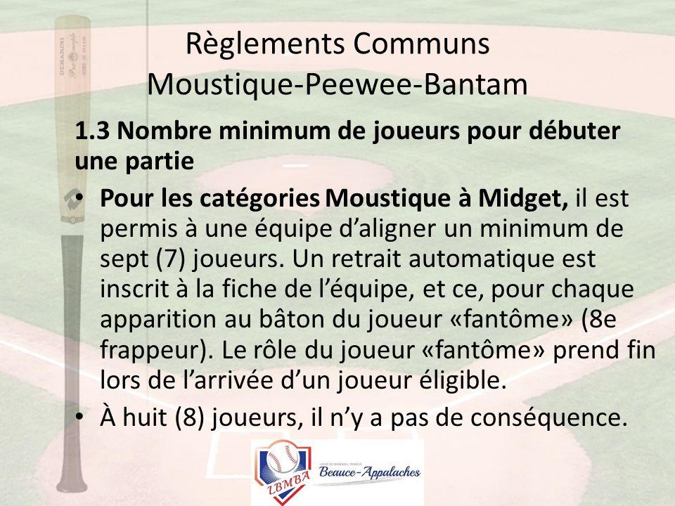 Règlements Communs Moustique-Peewee-Bantam 1.3 Nombre minimum de joueurs pour débuter une partie Pour les catégories Moustique à Midget, il est permis à une équipe d'aligner un minimum de sept (7) joueurs.