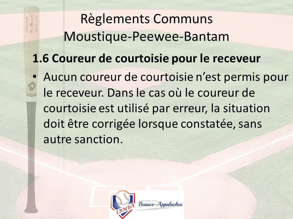 Règlements Communs Moustique-Peewee-Bantam 1.6 Coureur de courtoisie pour le receveur Aucun coureur de courtoisie n'est permis pour le receveur.