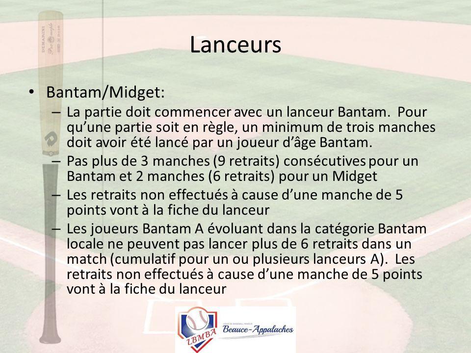 Lanceurs Bantam/Midget: – La partie doit commencer avec un lanceur Bantam.