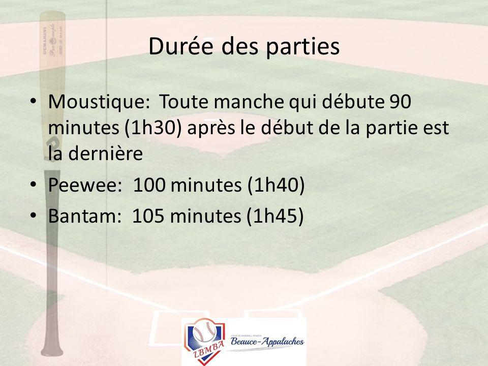 Durée des parties Moustique: Toute manche qui débute 90 minutes (1h30) après le début de la partie est la dernière Peewee: 100 minutes (1h40) Bantam: 105 minutes (1h45)