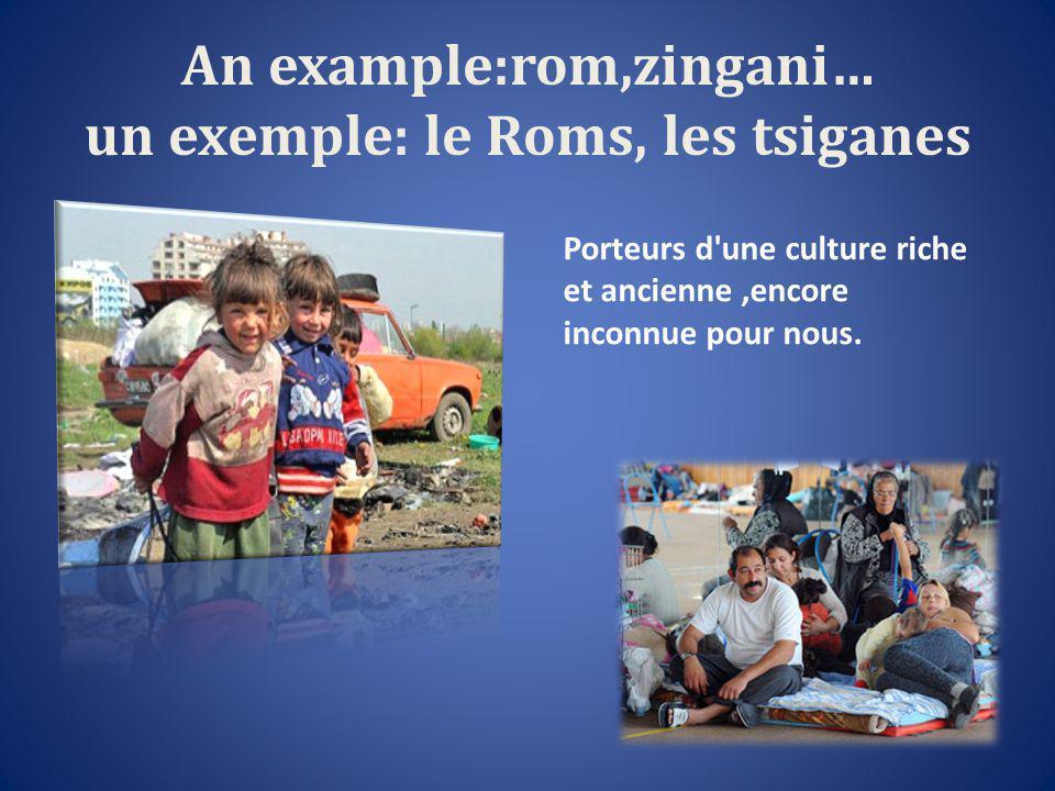 An example:rom,zingani… un exemple: le Roms, les tsiganes Porteurs d une culture riche et ancienne,encore inconnue pour nous.