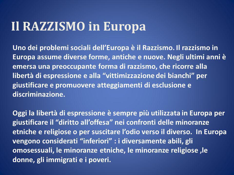 Il RAZZISMO in Europa Uno dei problemi sociali dell'Europa è il Razzismo.