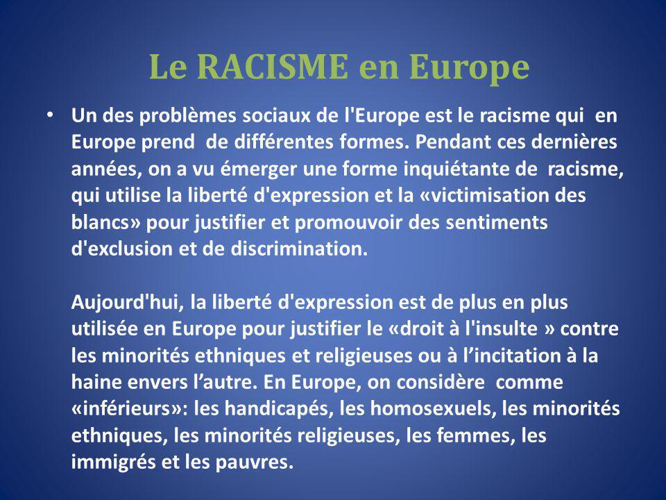 Le RACISME en Europe Un des problèmes sociaux de l Europe est le racisme qui en Europe prend de différentes formes.