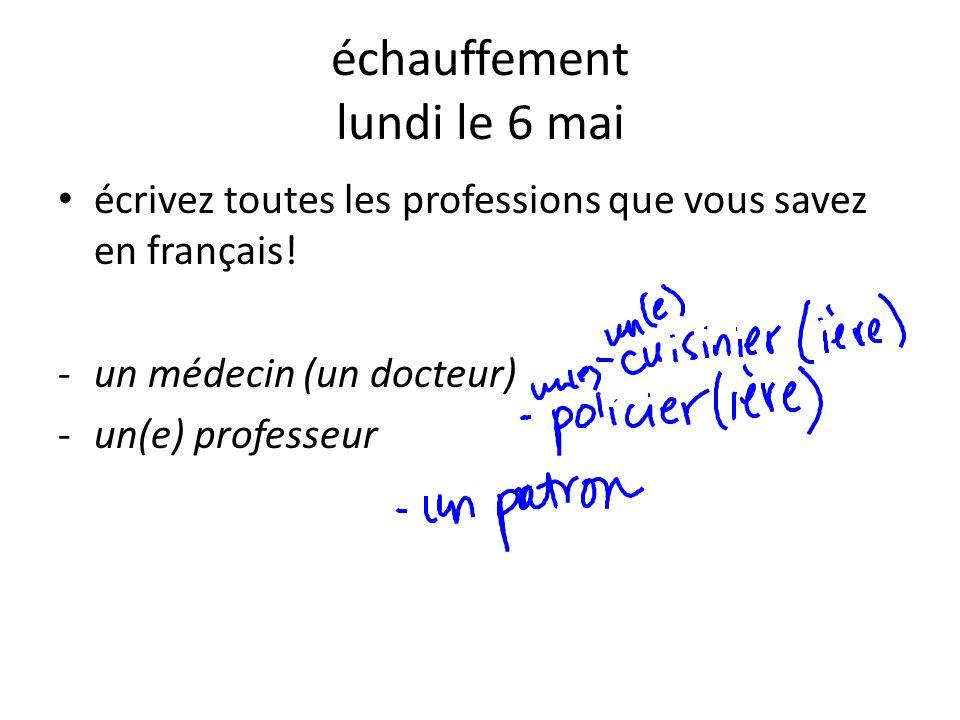 échauffement lundi le 6 mai écrivez toutes les professions que vous savez en français! -un médecin (un docteur) -un(e) professeur