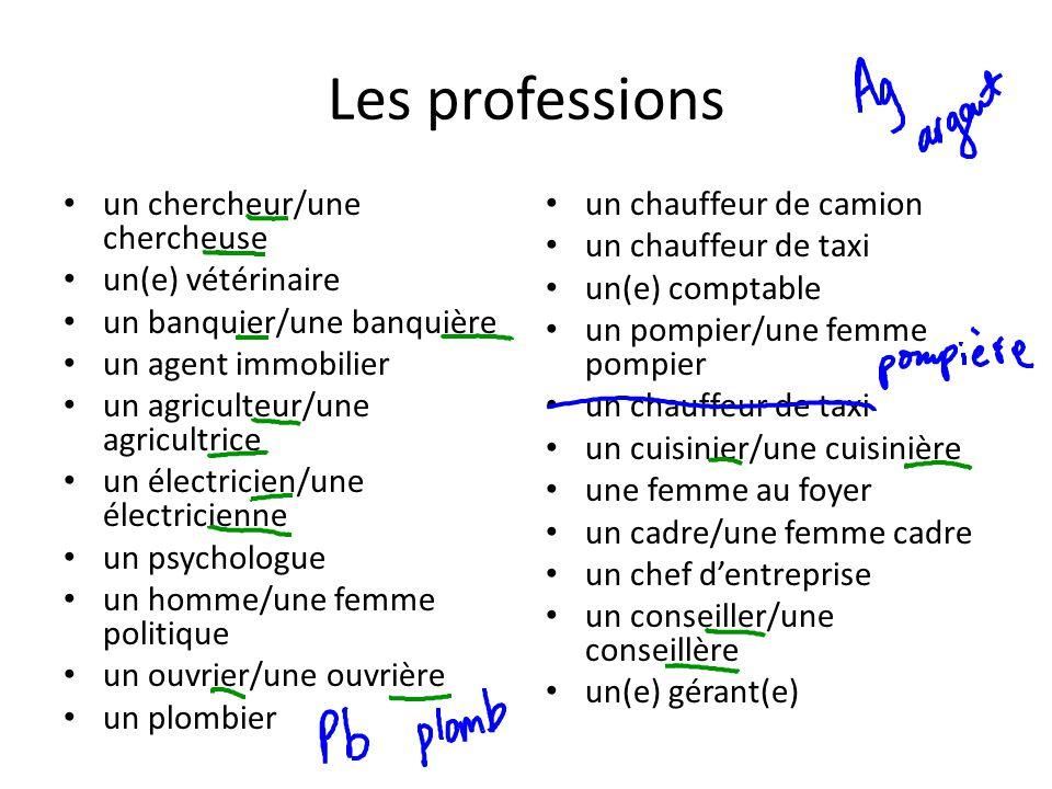 Les professions un chercheur/une chercheuse un(e) vétérinaire un banquier/une banquière un agent immobilier un agriculteur/une agricultrice un électri