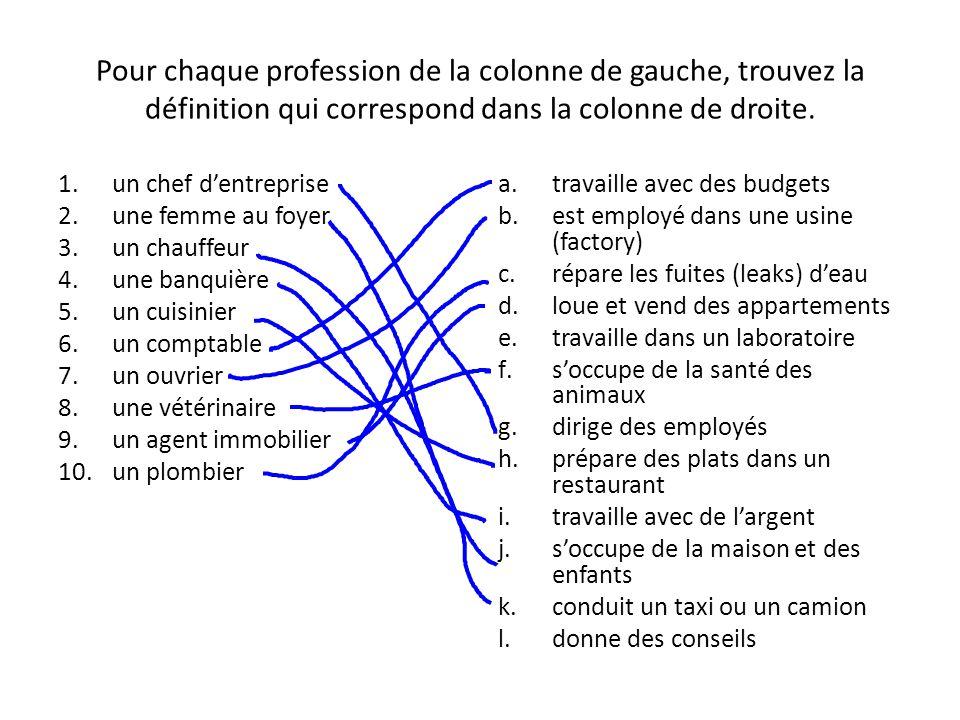Pour chaque profession de la colonne de gauche, trouvez la définition qui correspond dans la colonne de droite. 1.un chef d'entreprise 2.une femme au