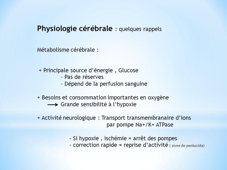 Physiologie cérébrale : quelques rappels Métabolisme cérébrale : + Principale source d'énergie, Glucose - Pas de réserves - Dépend de la perfusion san