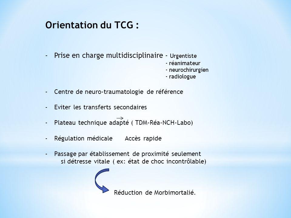 Orientation du TCG : -Prise en charge multidisciplinaire - Urgentiste - réanimateur - neurochirurgien - radiologue -Centre de neuro-traumatologie de r