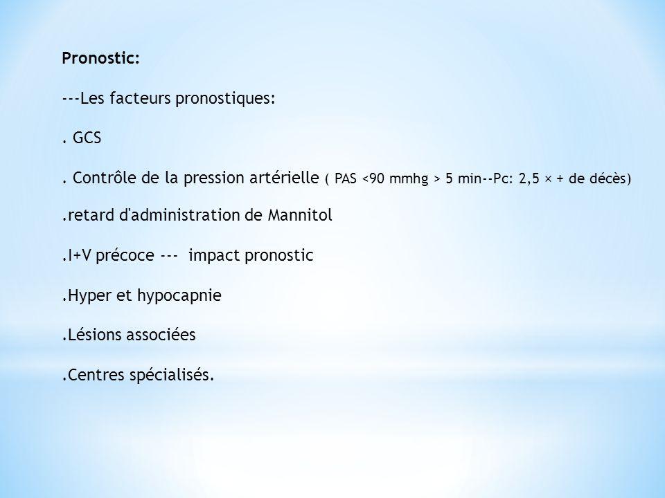 Pronostic: ---Les facteurs pronostiques:. GCS. Contrôle de la pression artérielle ( PAS 5 min--Pc: 2,5 × + de décès).retard d'administration de Mannit