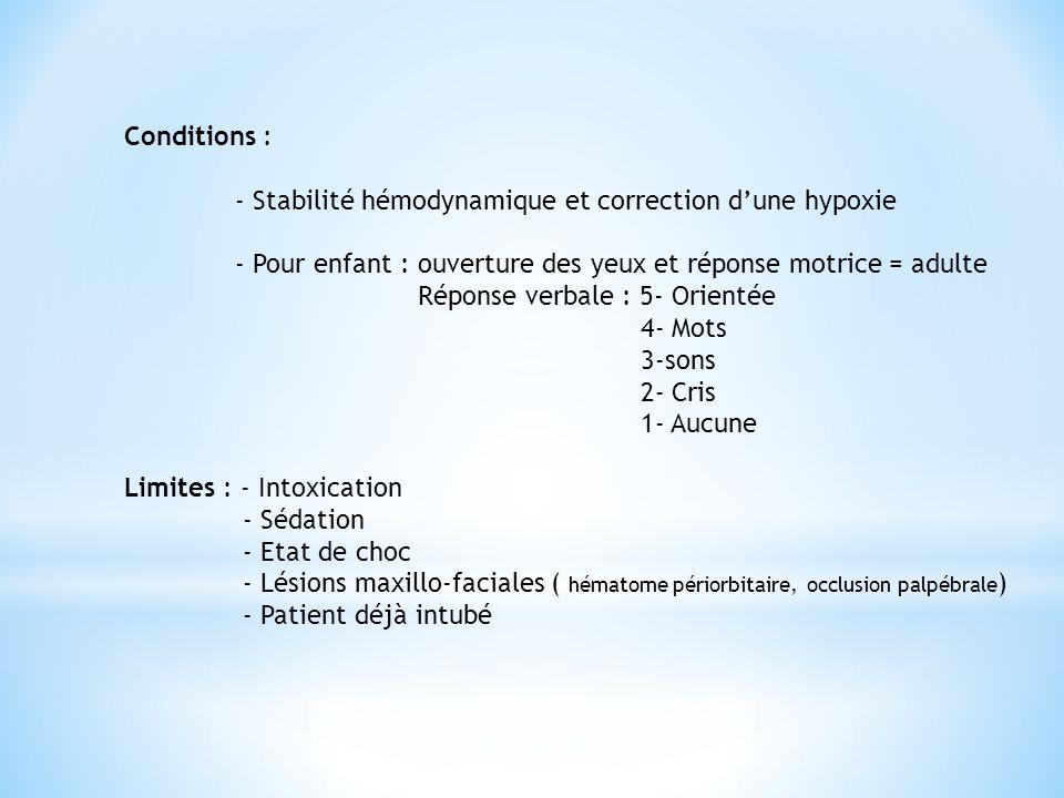 Conditions : - Stabilité hémodynamique et correction d'une hypoxie - Pour enfant : ouverture des yeux et réponse motrice = adulte Réponse verbale : 5-