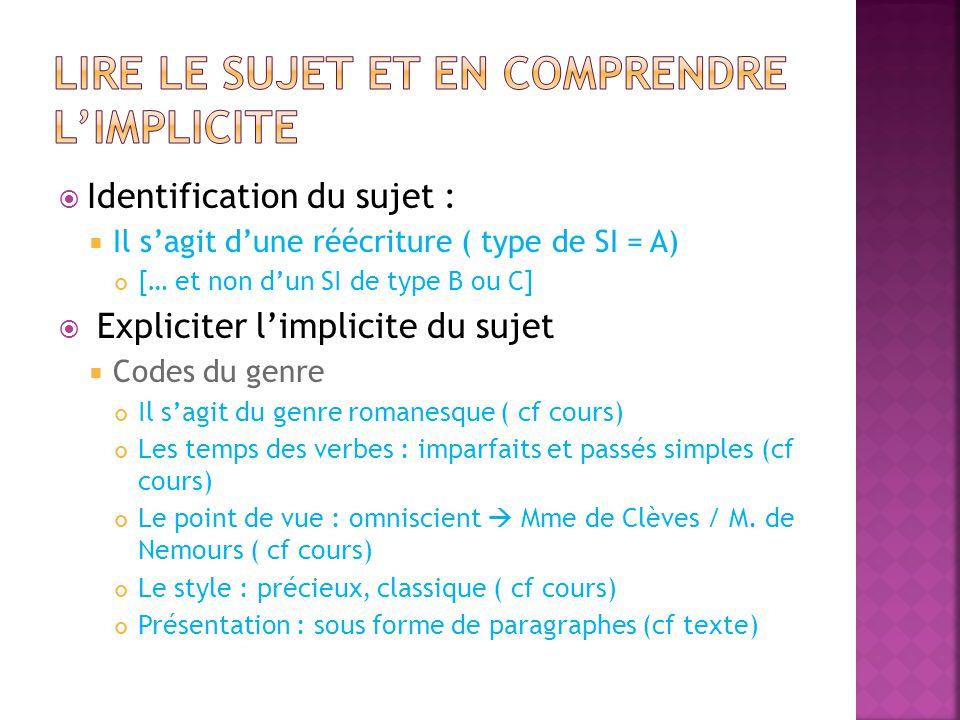  Identification du sujet :  Il s'agit d'une réécriture ( type de SI = A) [… et non d'un SI de type B ou C]  Expliciter l'implicite du sujet  Codes