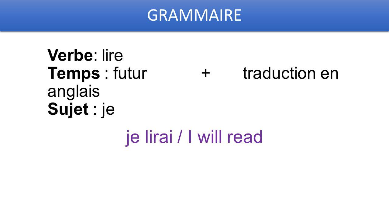 GRAMMAIRE Verbe: lire Temps : futur + traduction en anglais Sujet : je je lirai / I will read