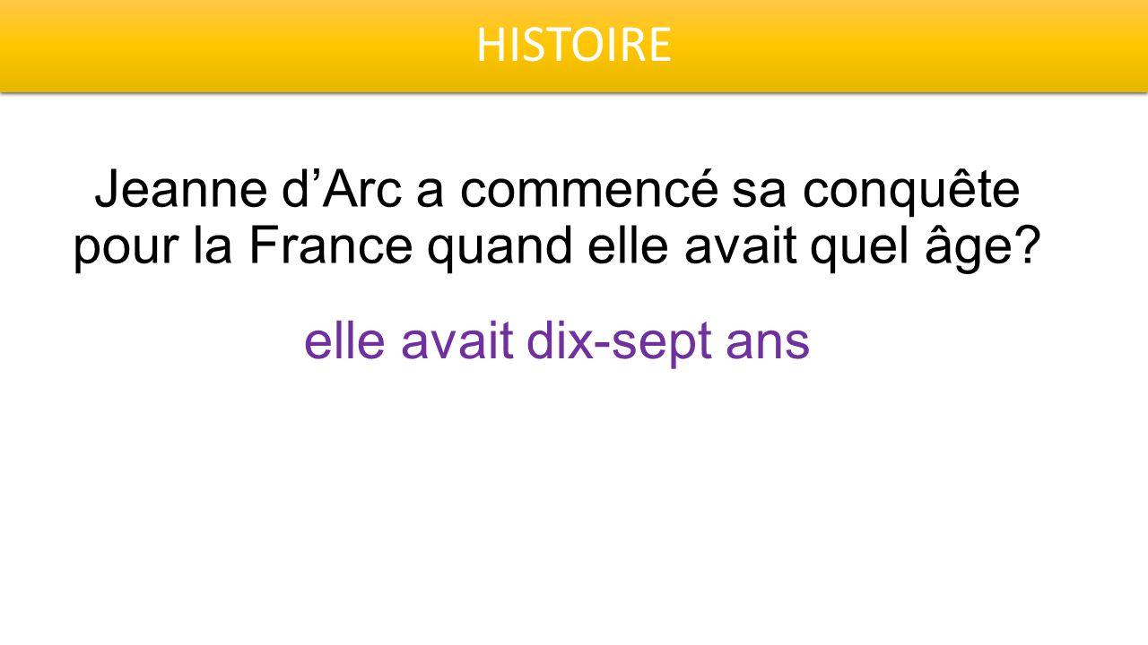 HISTOIRE Jeanne d'Arc a commencé sa conquête pour la France quand elle avait quel âge? elle avait dix-sept ans