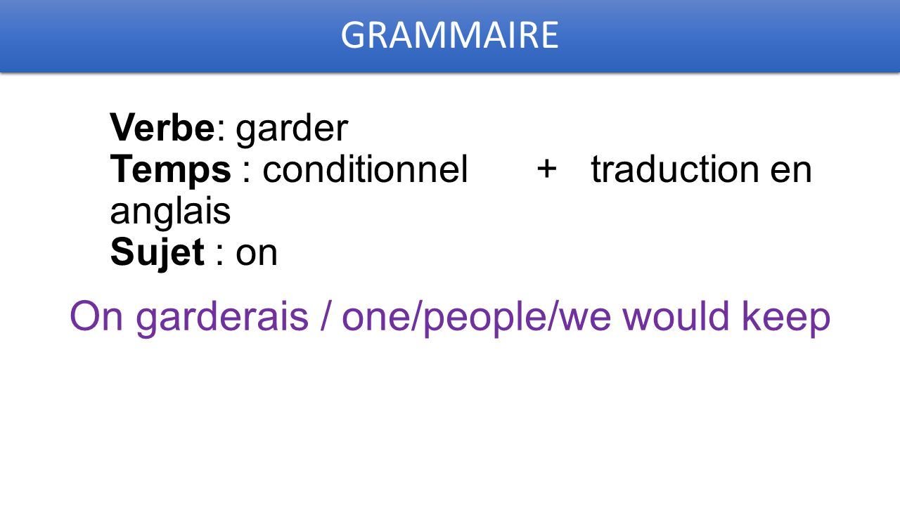 GRAMMAIRE Verbe: garder Temps : conditionnel + traduction en anglais Sujet : on On garderais / one/people/we would keep