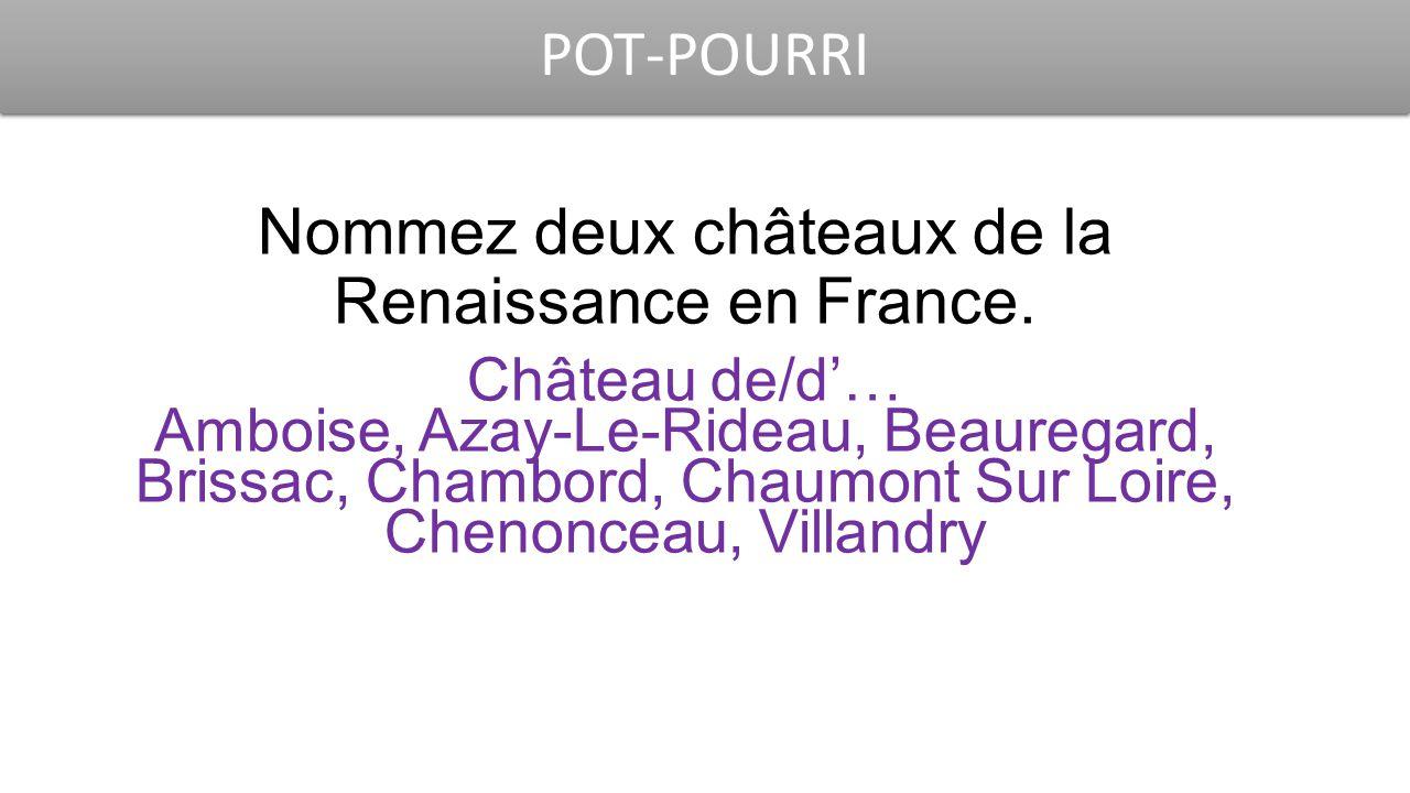 POT-POURRI Nommez deux châteaux de la Renaissance en France. Château de/d'… Amboise, Azay-Le-Rideau, Beauregard, Brissac, Chambord, Chaumont Sur Loire