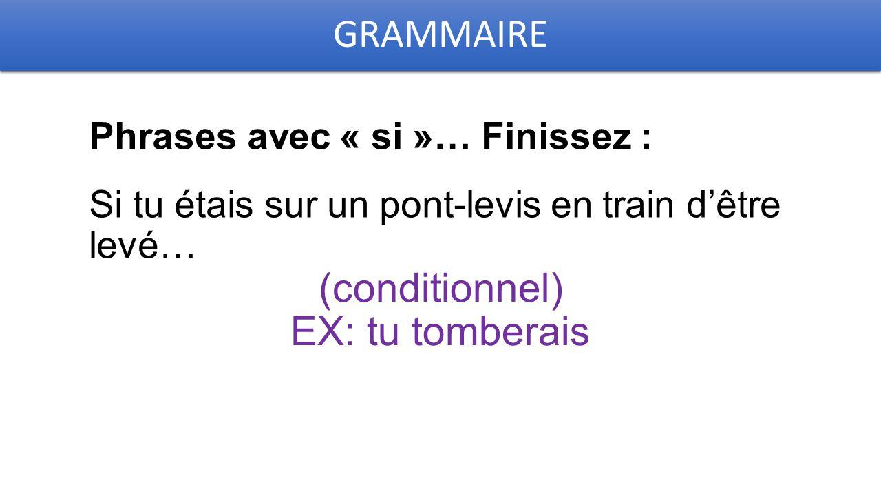 GRAMMAIRE Phrases avec « si »… Finissez : Si tu étais sur un pont-levis en train d'être levé… (conditionnel) EX: tu tomberais